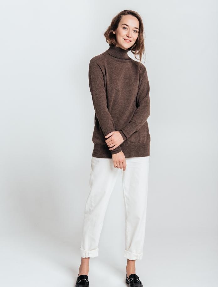 Oversized kašmira un vilnas apvienojuma džemperis ar augstu apkakli. Attēls Nr. 4