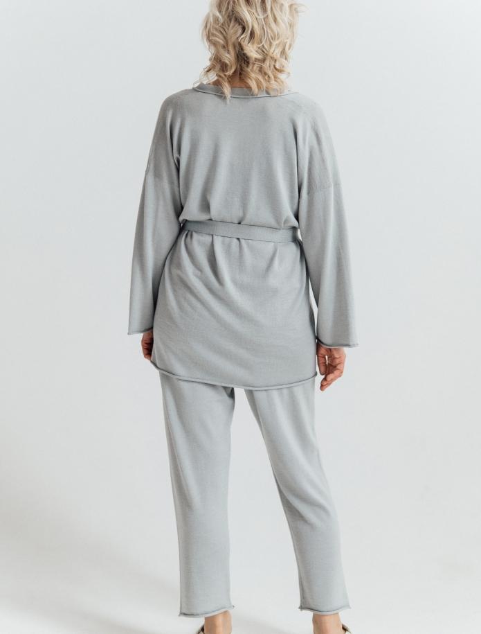 Midi merino/cashmere/silk cardigan with belt. Photo Nr. 3