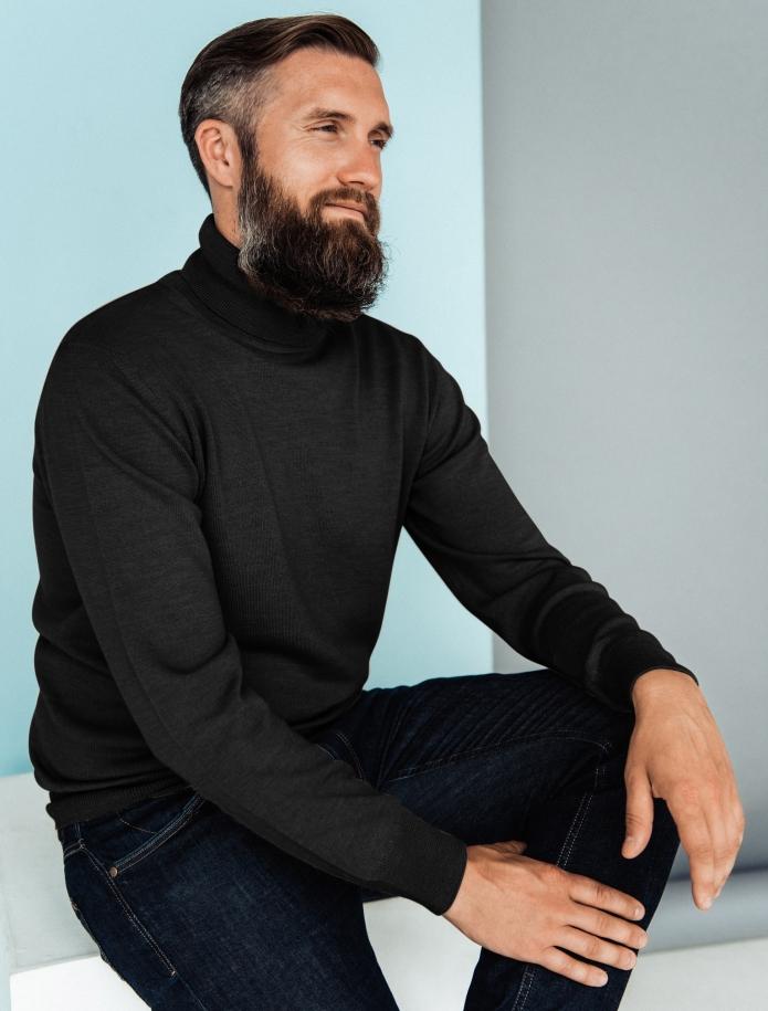 Merino vilnas vīriešu džemperis ar augstu apkakli. Attēls Nr. 9