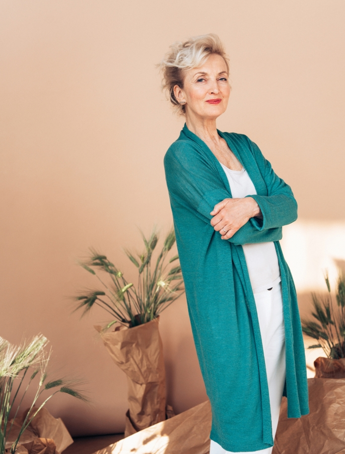 Linen and silk mid length cardigan. Photo Nr. 1