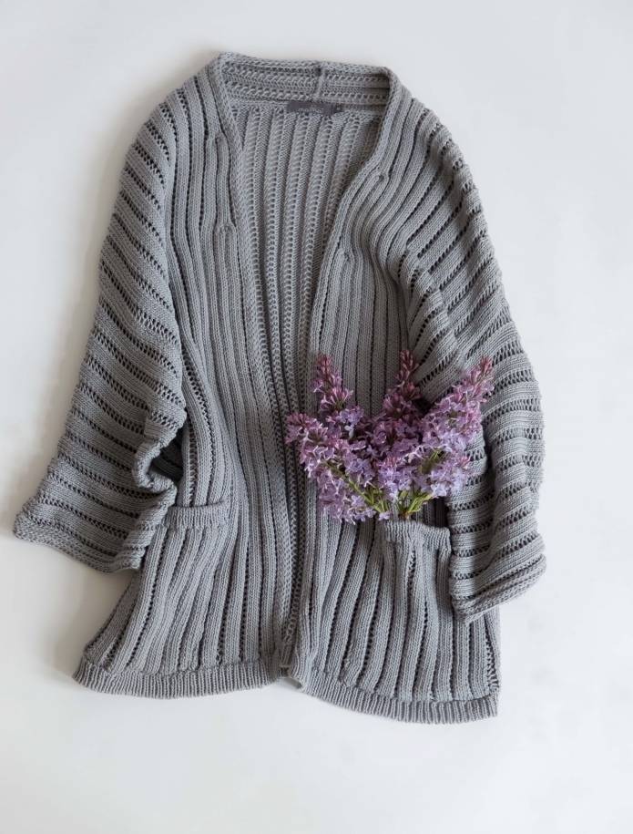 Silk and cotton cardigan with pockets. Photo Nr. 4