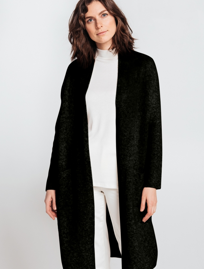 Long merino blend coat with pockets. Photo Nr. 4