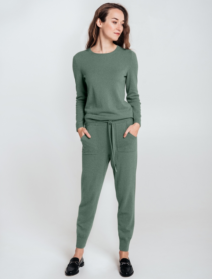 SET: trousers and round neck sweater from Merino and Cashmere blend. Photo Nr. 7