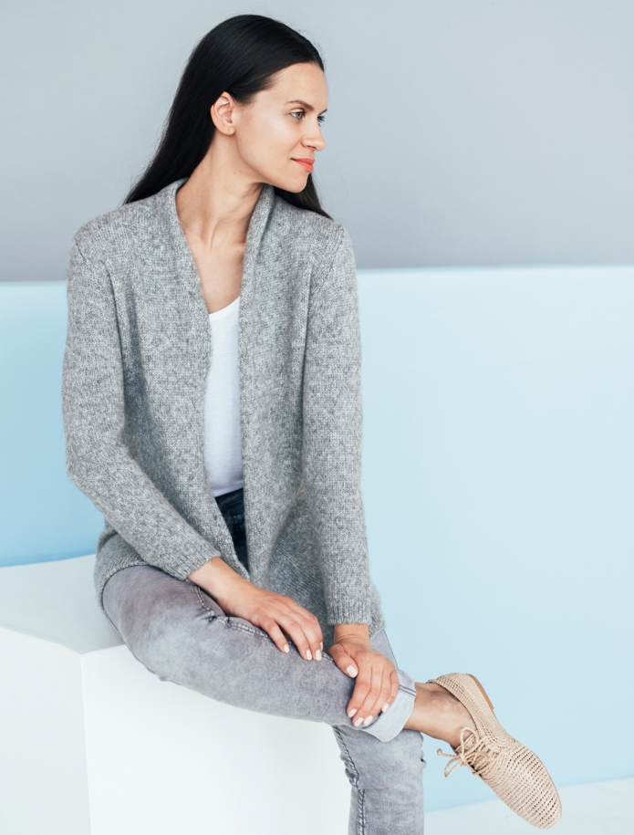 Midi length alpaca wool cardigan. Photo Nr. 1