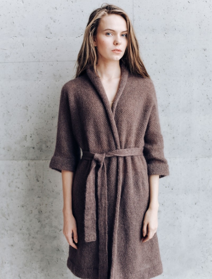 Long kid mohair silk kimono jacket. Photo Nr. 1