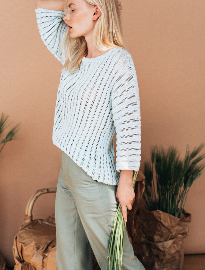 Silk and cotton round neck sweater. Photo Nr. 2