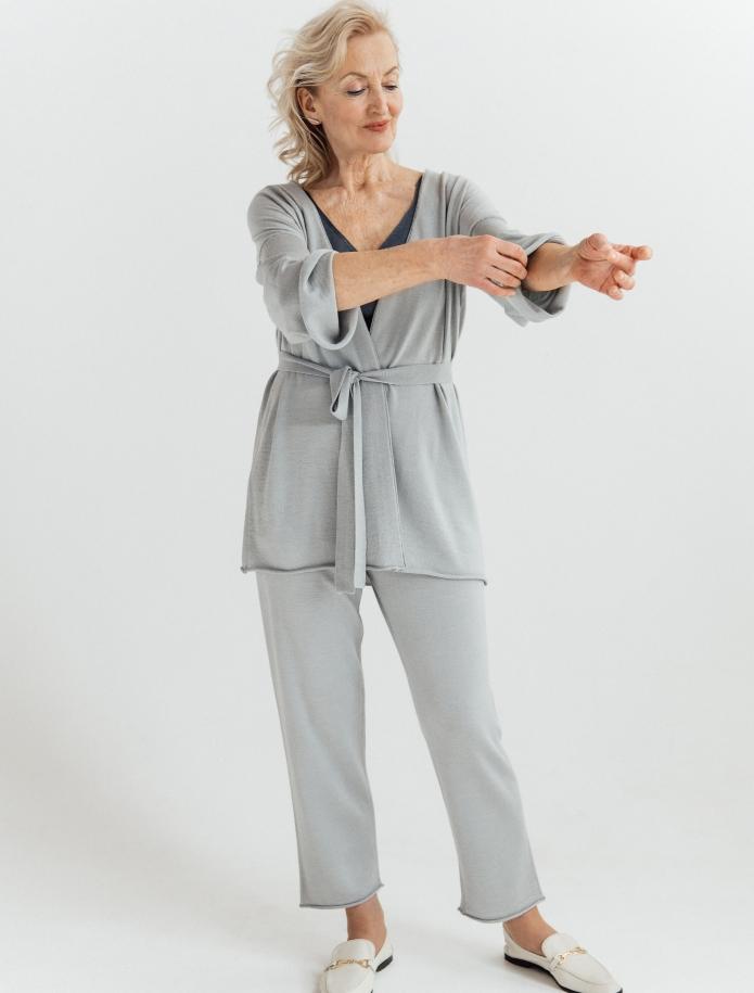 Midi merino/cashmere/silk cardigan with belt. Photo Nr. 2