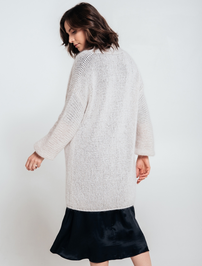 Kidmohair, merino wool and silk blend oversized cardigan. Photo Nr. 5