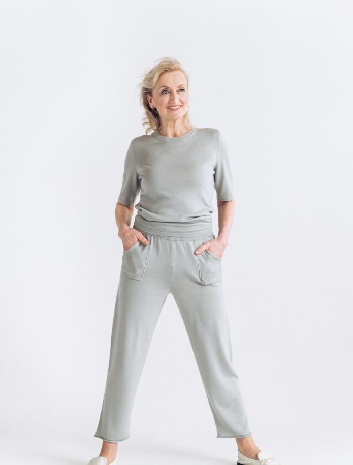 Merino, kašmira un zīda bikses ar kabatām. Attēls Nr. 2