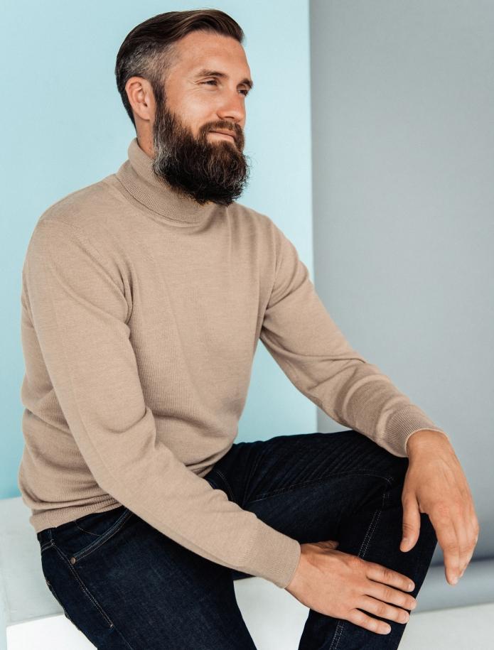 Merino vilnas vīriešu džemperis ar augstu apkakli. Attēls Nr. 2