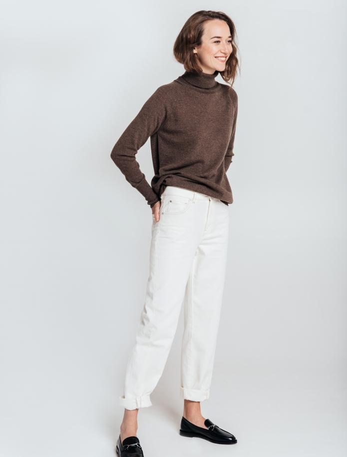 Oversized kašmira un vilnas apvienojuma džemperis ar augstu apkakli. Attēls Nr. 1