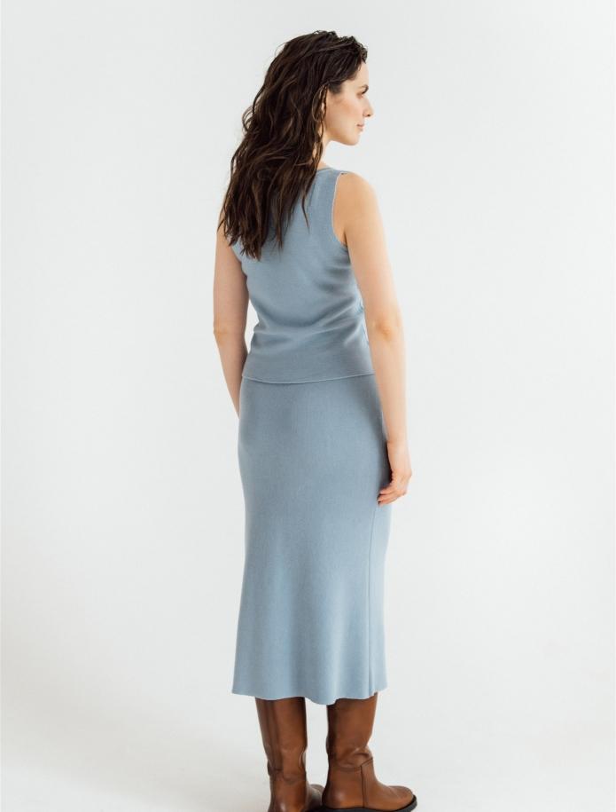 Midi length merino / cashmere / silk skirt. Photo Nr. 3