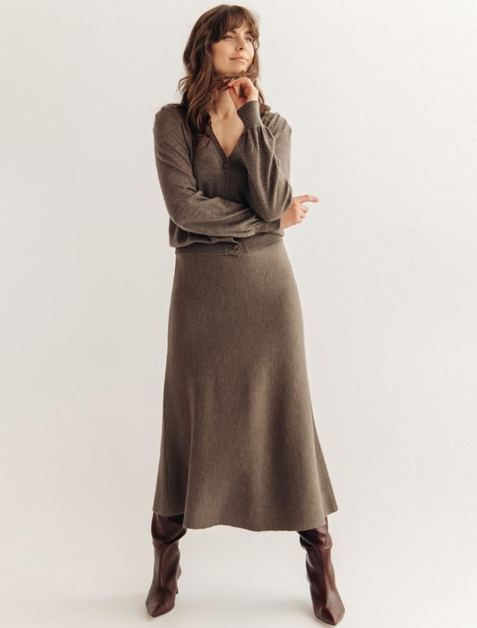 Midi length merino wool skirt. Photo Nr. 2