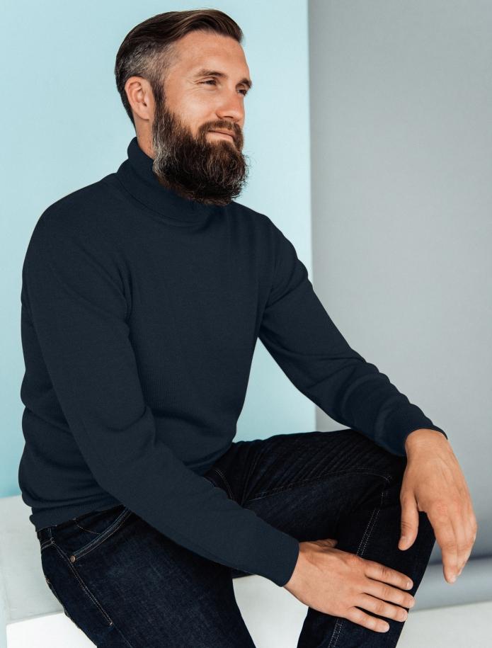 Merino vilnas vīriešu džemperis ar augstu apkakli. Attēls Nr. 1