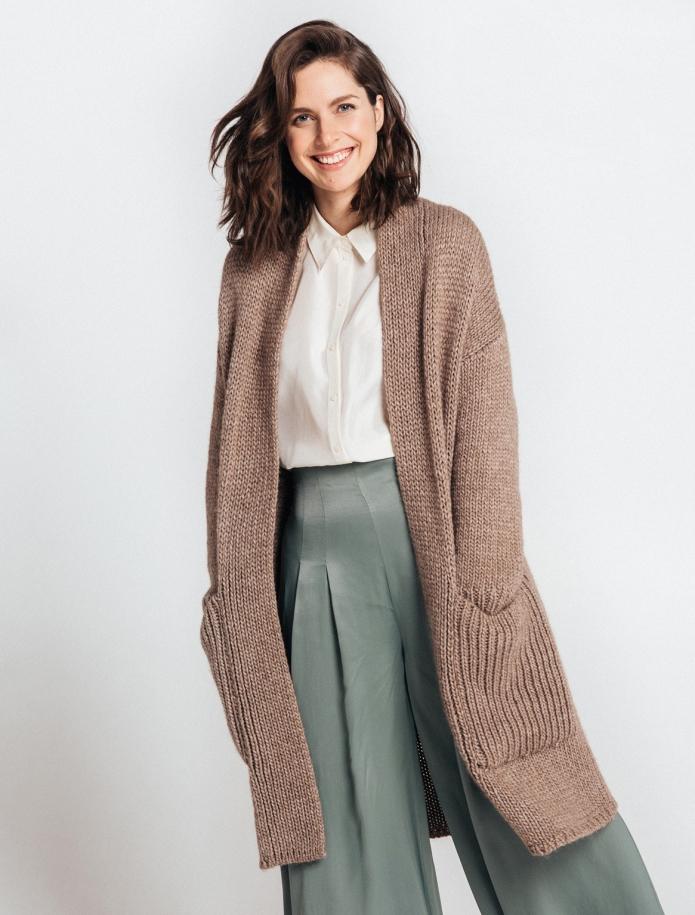 Chunky alpaca coat with pockets. Photo Nr. 1