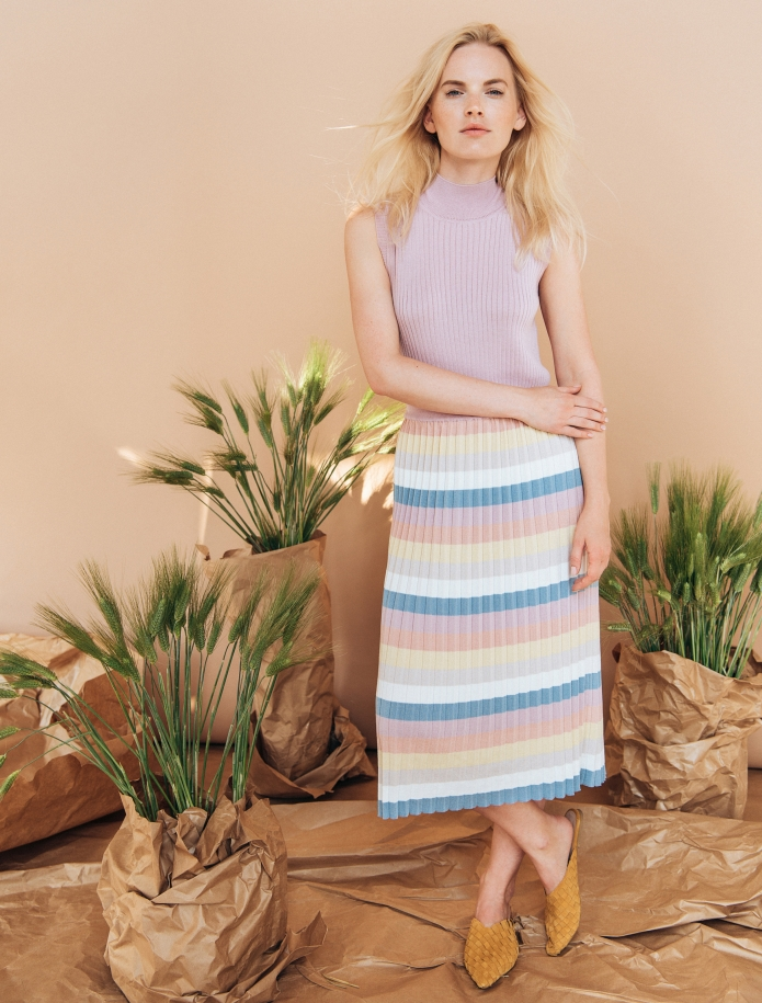 Striped silk and cotton gofre skirt. Photo Nr. 1