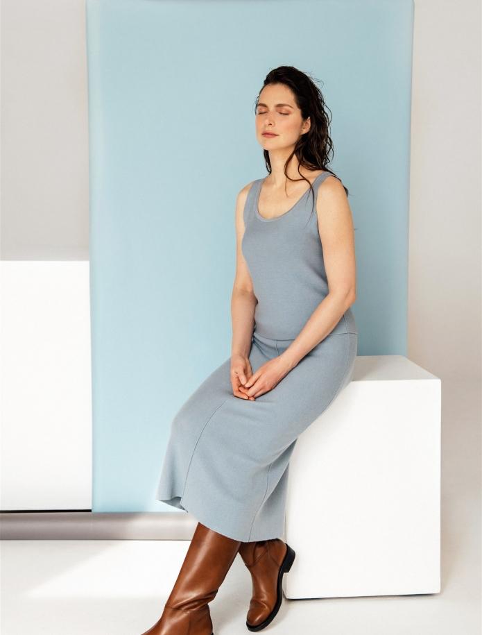 Midi length merino / cashmere / silk skirt. Photo Nr. 2