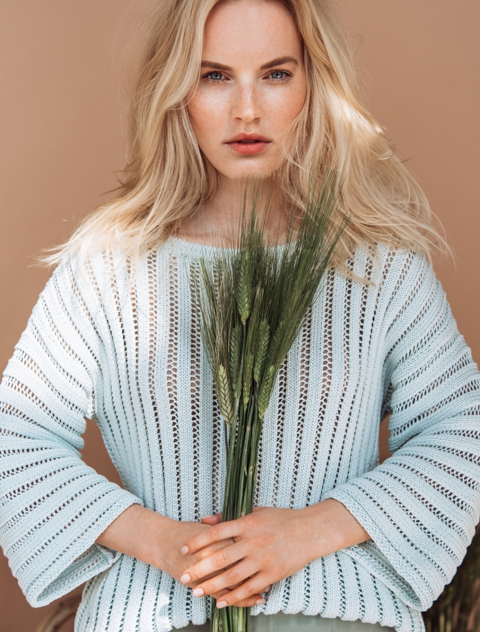 Silk and cotton round neck sweater. Photo Nr. 1