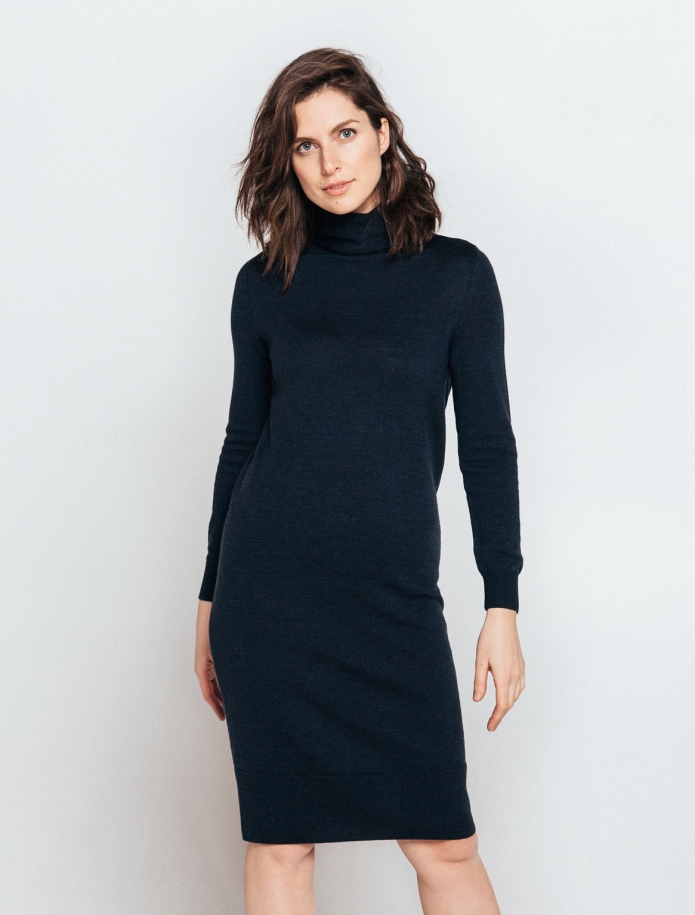 Midi turtle neck merino wool dress. Photo Nr. 1