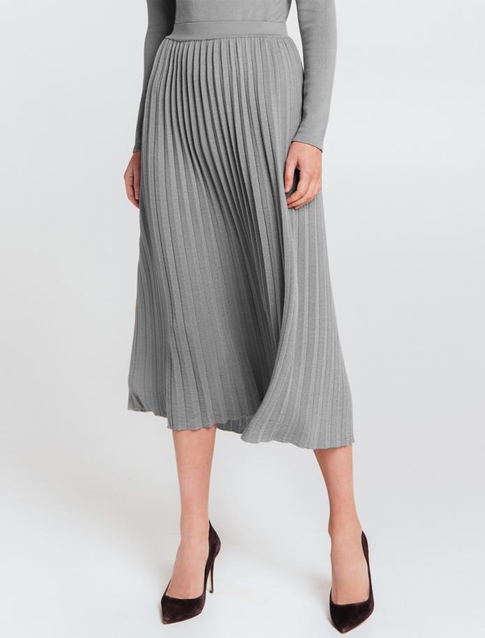 Mid length gofra merino wool skirt with narrow Belt. Photo Nr. 3
