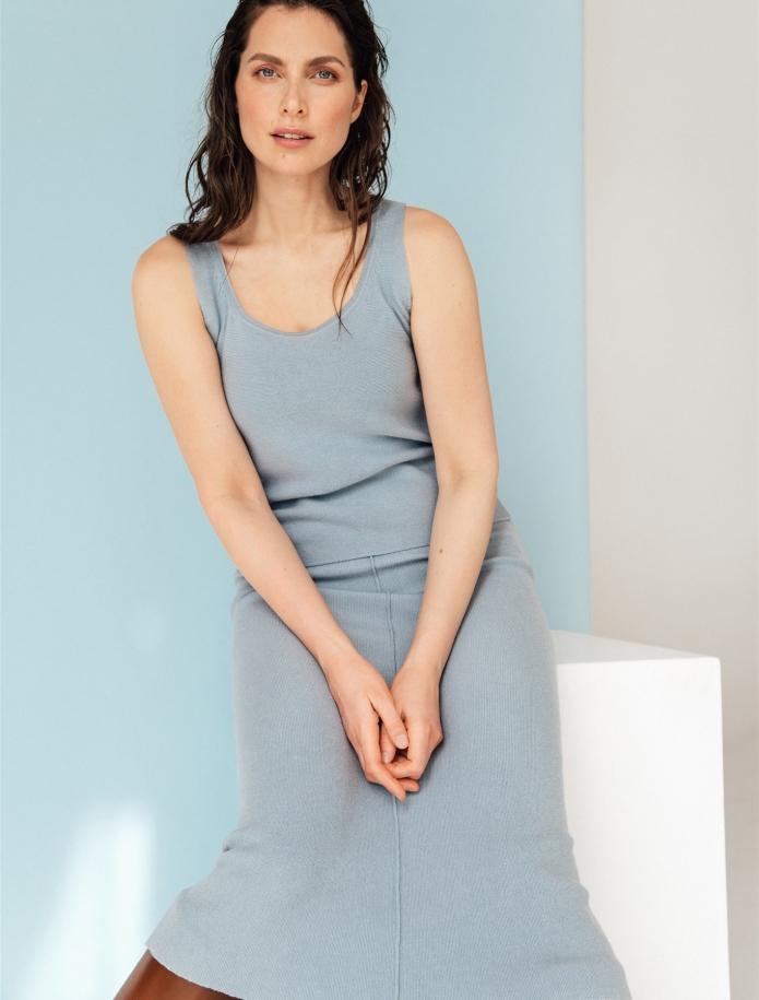 Merino / cashmere / silk sleveeless top. Photo Nr. 1